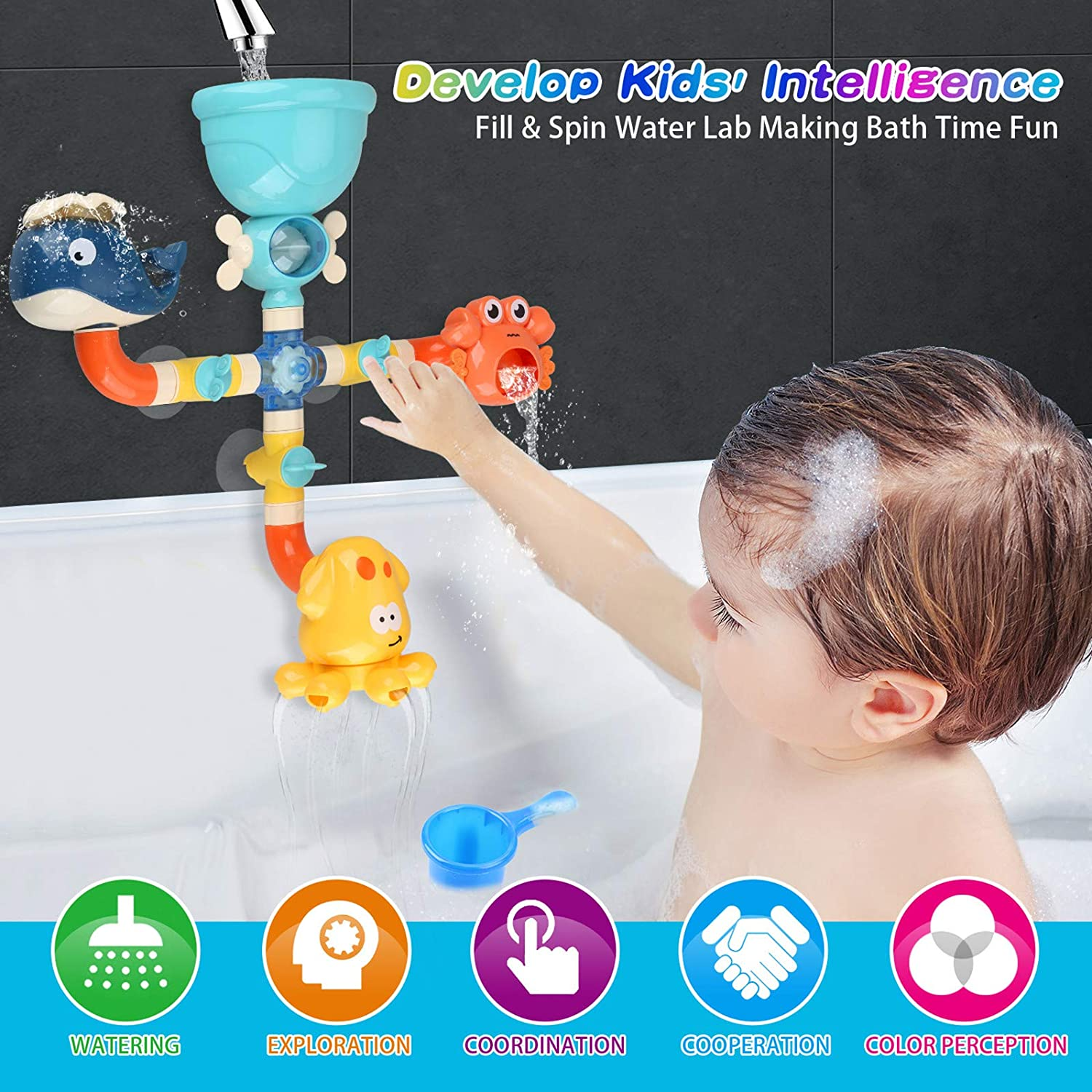Kids DIY Pipes Tubes for Bath Time with Spinning Gear Rotating Waterfall Fun Water Spout Birthday Gift Ideas Color Box Bath Toys Bathtub Toy for Toddlers Baby 1 2 3 4 5 Years Old Boys and Girls
