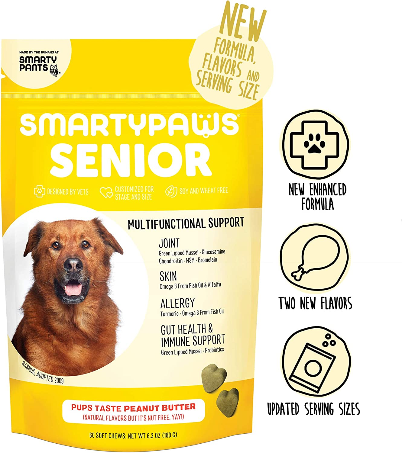 Supplement Dog Chew Glucosamine, Probiotics, Chondroitin, Fish Oil Omega 3, MSM for Hip and Joint Support, Organic Turmeric by Smarty Paws 60 Ct Packaging May Vary
