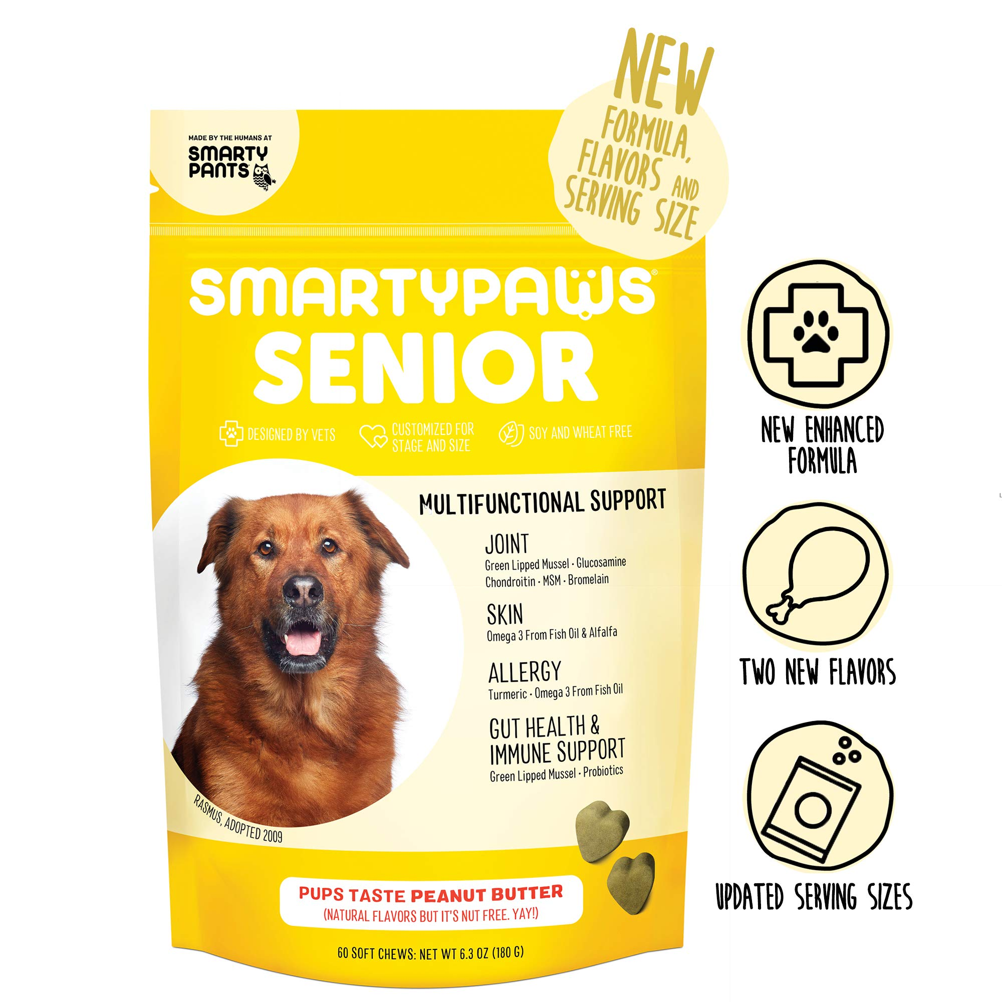 SmartyPaws Dog Supplement Chew for Seniors - Glucosamine, Probiotics, Chondroitin, Fish Oil Omega 3, MSM for Hip & Joint Support, Organic Turmeric, Peanut Butter Flavor (60 ct) - Packaging May Vary by SmartyPants