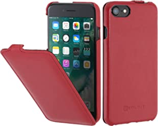 "StilGut UltraSlim Case, custodia verticale in pelle cover per iPhone 7 & iPhone 8 (4,7""). Chiusura clip in alto Flip-Case in vera pelle"