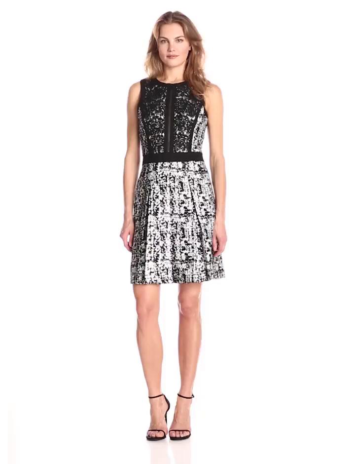 Adrianna Papell Women's Sleeveless Skater Dress, Silver/Black, 12