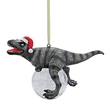 design toscano christmas tree ornament blitzer the t rex with santa hat holiday ornament