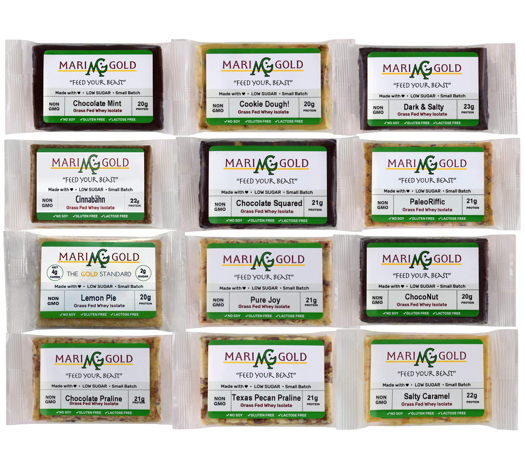 MariGold GRASS FED Whey Protein Bars Sampler Pack- 21+gm Protein, Even LOWER Sugar, Non GMO, Amazing Taste - Made Fresh, Ships Fresh. Purest Ingredients (12)