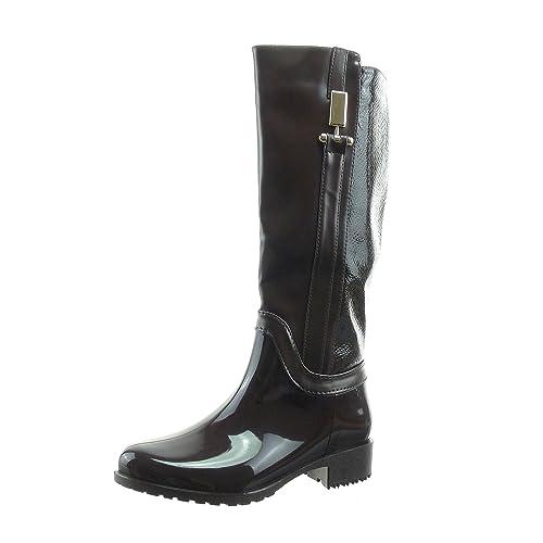 Sopily - Scarpe da Moda Stivali - Scarponi stivali pioggia cavalier al  polpaccio donna lucide pelle 363dc5465a1
