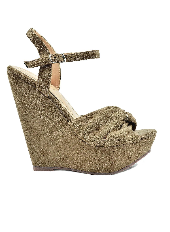Chase & Chloe Gita-1 Sling Back Criss-Cross Bow Detail Women's Wedge Sandal B07D94V5QM 6 M US|Taupe