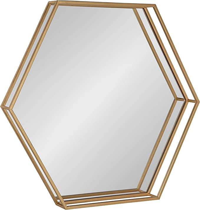 Kate And Laurel Felicia Modern Hexagon Mirror 30 X 30 Gold Geometric Accent Mirror For Wall Furniture Decor