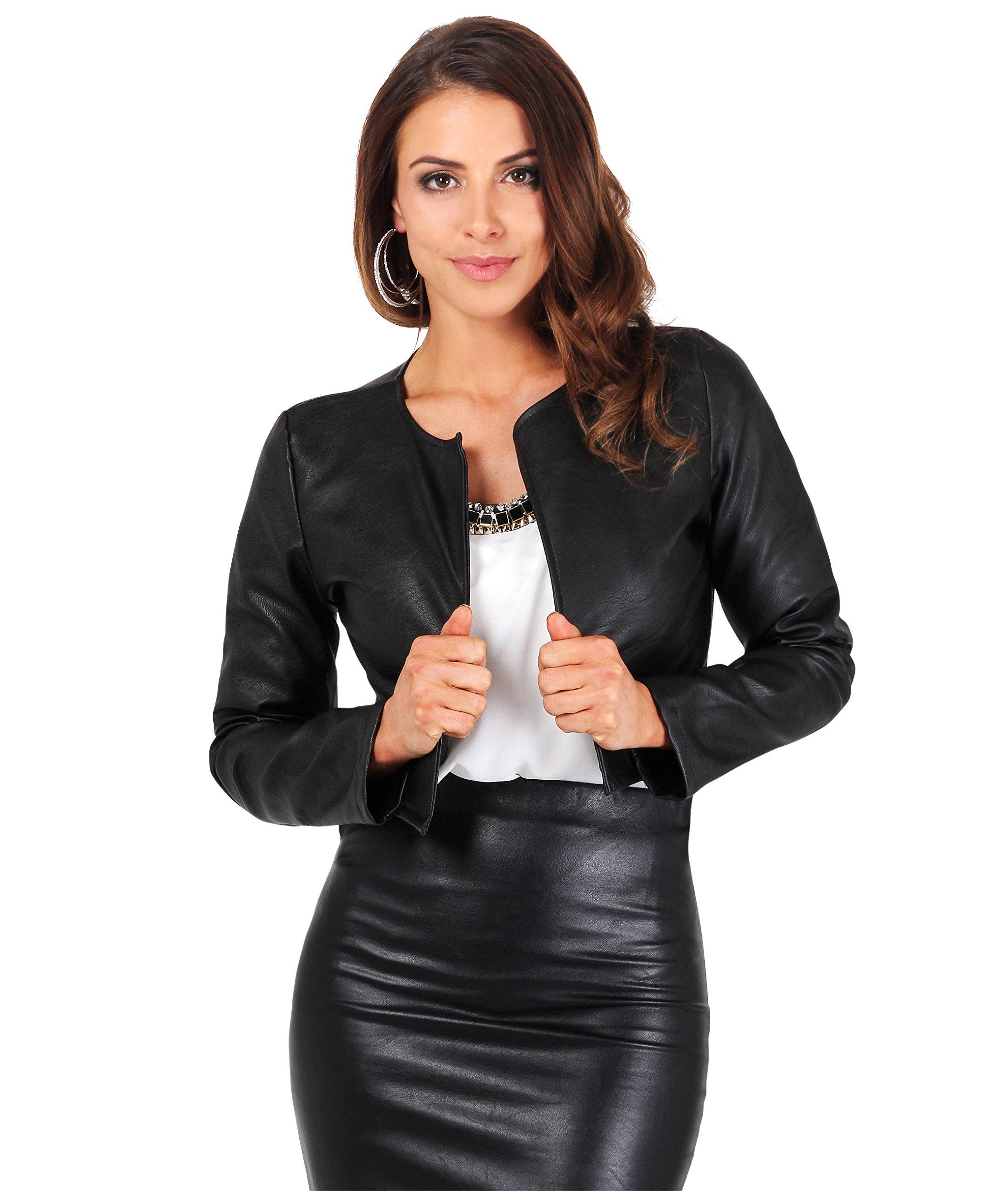 KRISP PU Cropped Open Jacket (Black, X-Large),[4432-BLK-XL]
