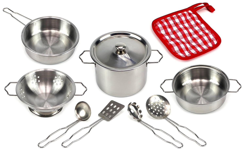 Amazon.com: Best Cook Complete 10 Piece Metal Toy Kitchenware Play ...