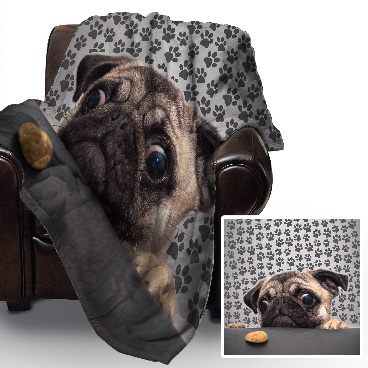 PUG DOG WITH BISCUIT DESIGN SOFT FLEECE BLANKET COVER THROW OVER