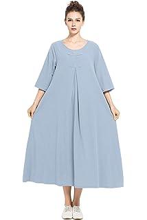 1ffabd204a9 Anysize Spring Summer Dress Soft Linen Cotton Maxi Dress Plus Size Clothing  F120A