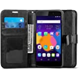 """IDOL 3 Case 5.5, J&D [Stand View] Alcatel OneTouch IDOL 3 Wallet Case [Slim Fit] [Stand Feature] Premium Protective Case Wallet Leather Case for IDOL 3 (5.5"""") (Black)"""