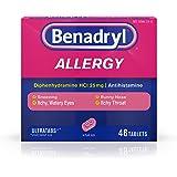 Benadryl Ultratabs Antihistamine Allergy Relief Tablets, Diphenhydramine HCl 25mg, 48 ct