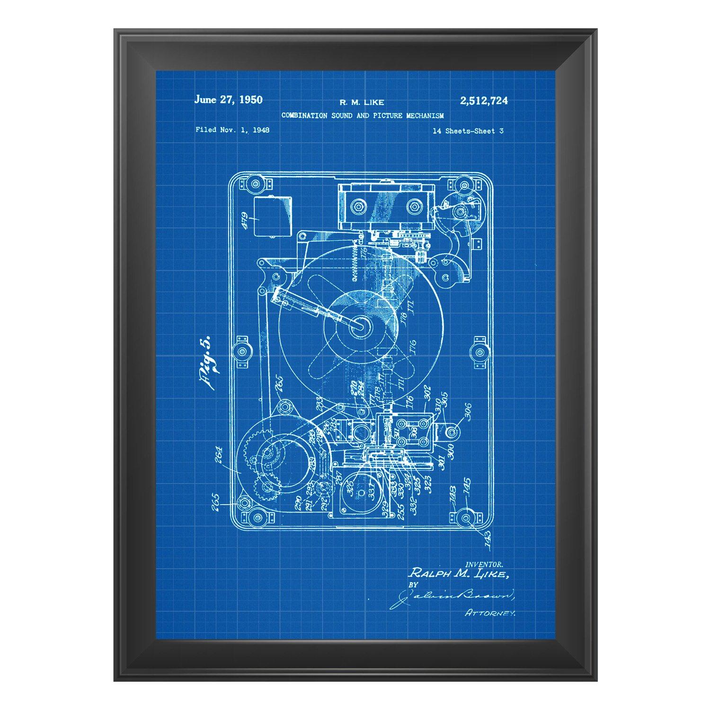 Nacnic Azul - Pack de 4 Láminas con Patentes de Tocadiscos ...