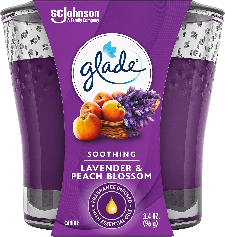 Glade Candle Jar, Air Freshener, Lavender & Peach Blossom, 3.4 Oz