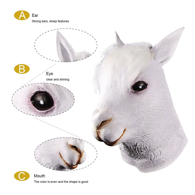 molezu Alpaca Head Mask Latex Cute White Alpacas Mask for Costume Play Halloween Novelty Deluxe Animal Head Mask