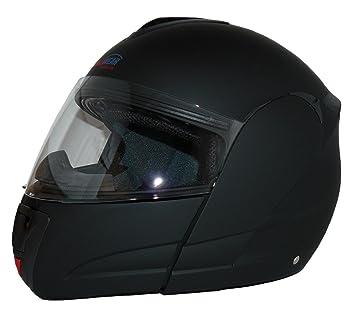 Protectwear Casco modular de moto con el visera solar integrado heló negro V210-MT Tamaño