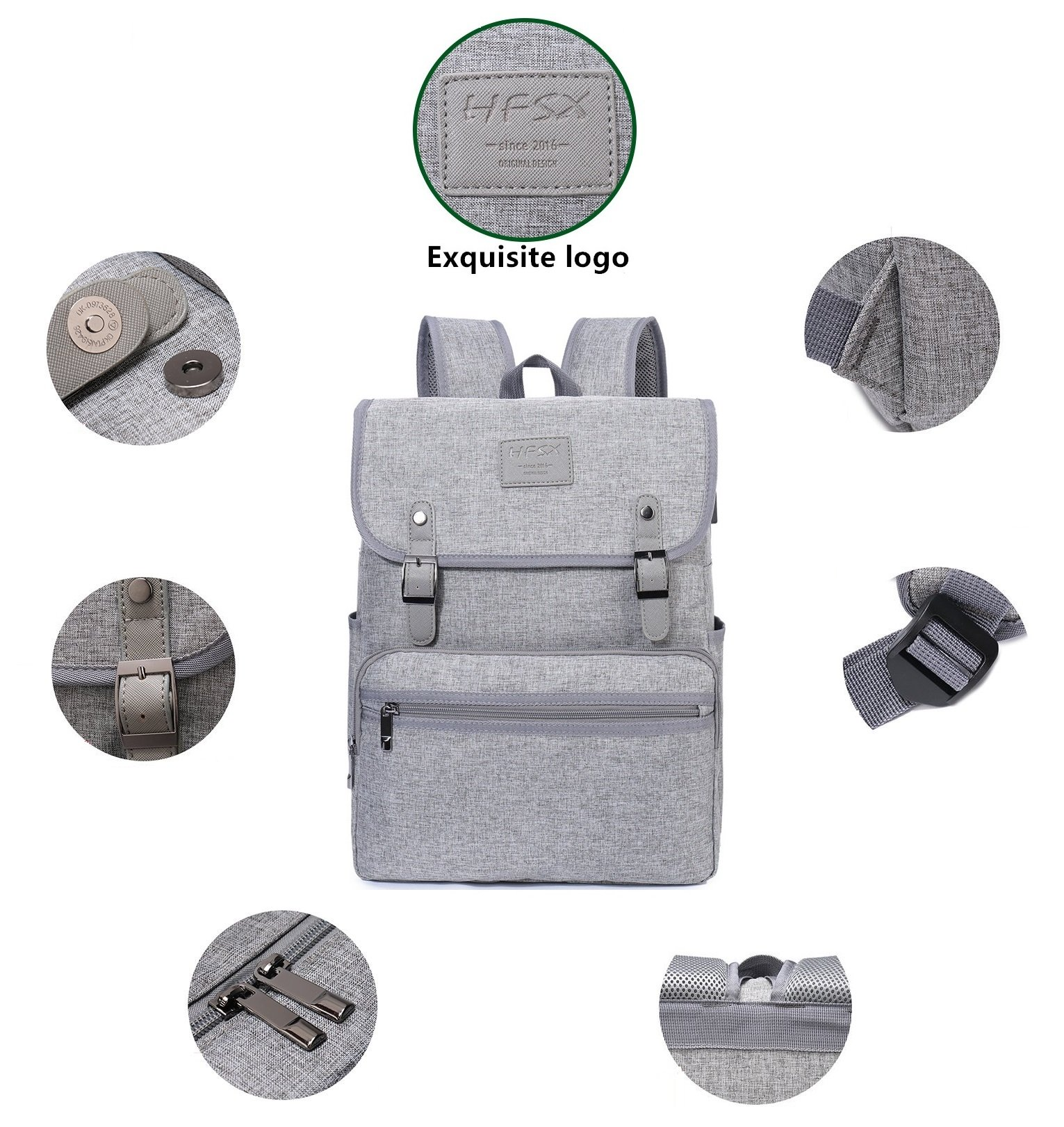 Laptop Backpack Men Women Business Travel Computer Backpack School College Bookbag Stylish Water Resistant Vintage Backpack with USB Port Fashion GREY Fits 15.6 Inch Laptop and Notebook by HFSX (Image #3)