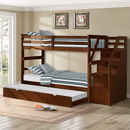 Amazon Com Harper Bright Designs Twin Over Twin Trundle Bunk Bed