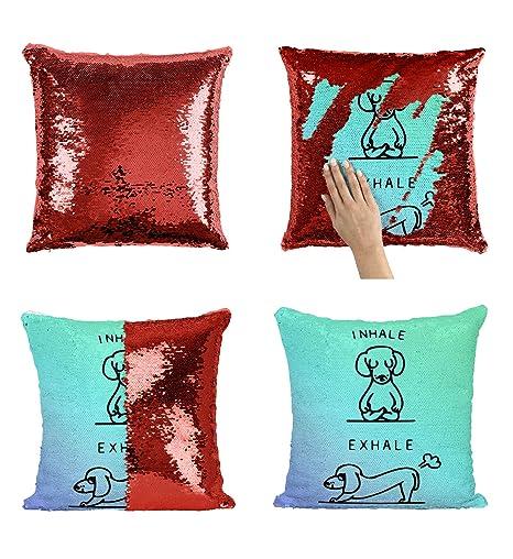 Inhale Exhale Yoga P158 Sequin Pillow, Almohada, Regalo ...