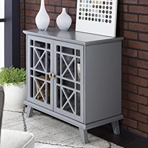 Walker Edison Furniture Company Wood Accent Buffet Sideboard Serving Storage Cabinet with Doors Entryway Kitchen Dining Console Living Room, 32 Inch, Grey