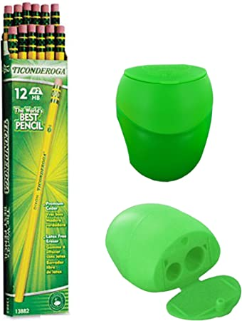 Including FREE BONUS Double Hole Pencils Sharpener Dixon Ticonderoga Wood-Cased Pencils Colors may vary Box of 12 Yellow #2 HB