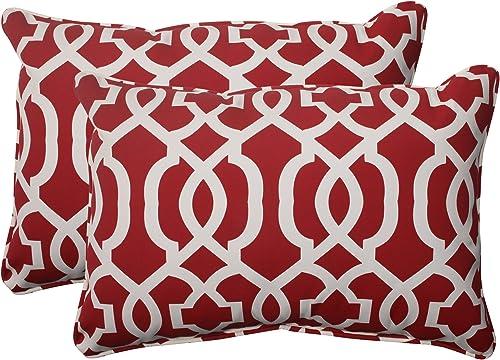 Pillow Perfect Outdoor Indoor New Geo Oversized Lumbar Pillows, 24.5 x 16.5 , Red, 2 Pack