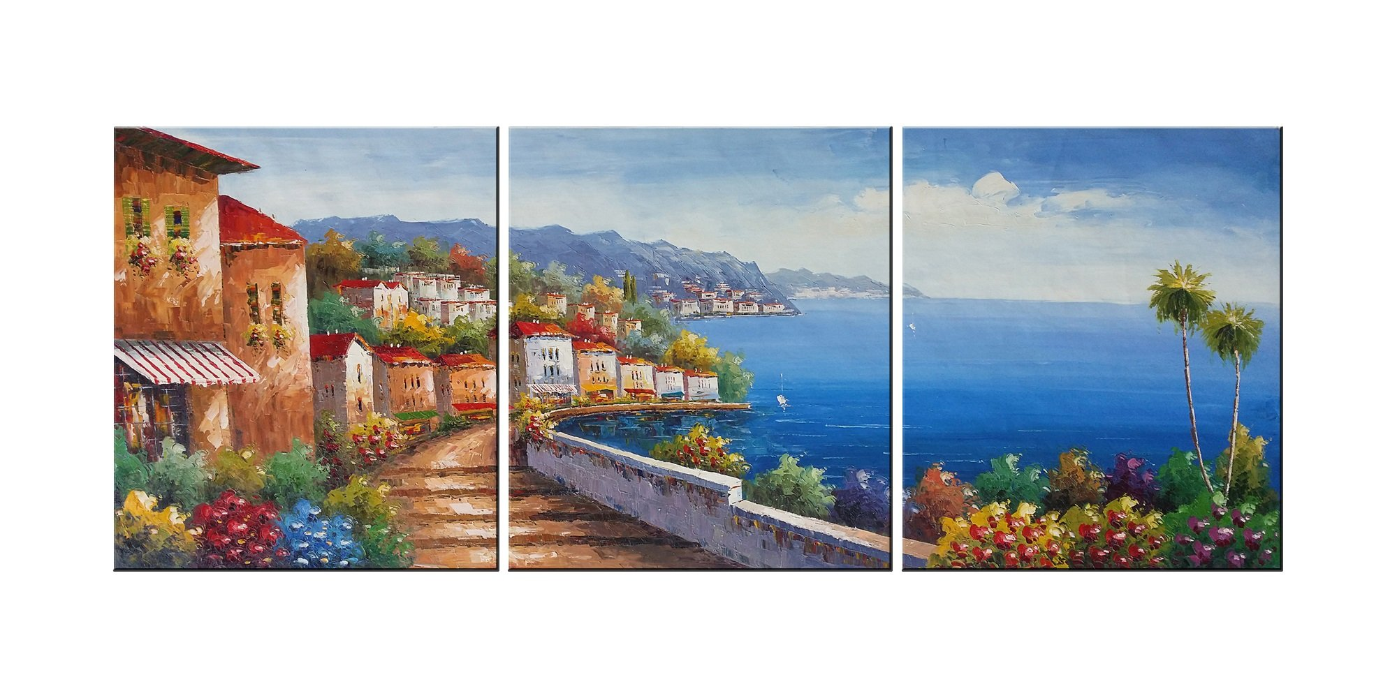 Living Room Canvas Wall Art Mediterranean Sea Artwork - 12