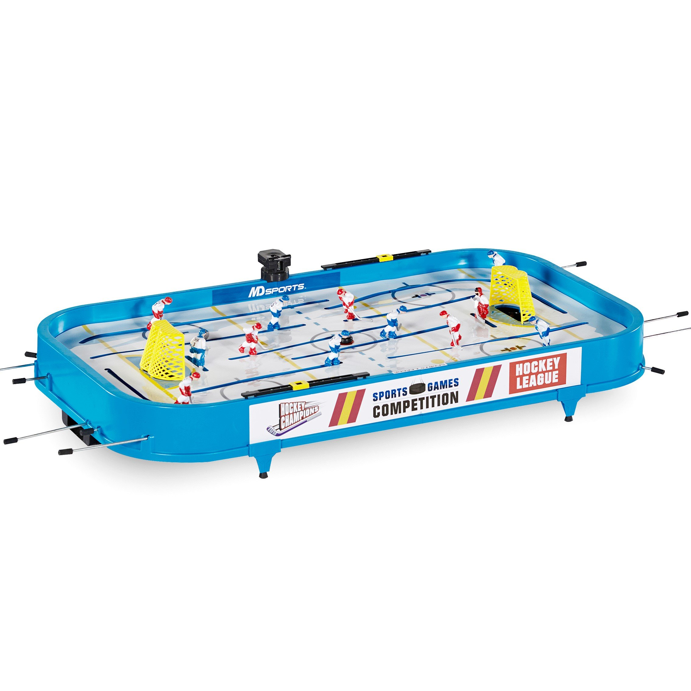 MD Sports Rod Hockey Table Game, 36'', Lightweight Table Top -Stick Hockey with 2 Pucks - Fun, Portable Arcade Games and Accessories for Kids and Adults by MD Sports