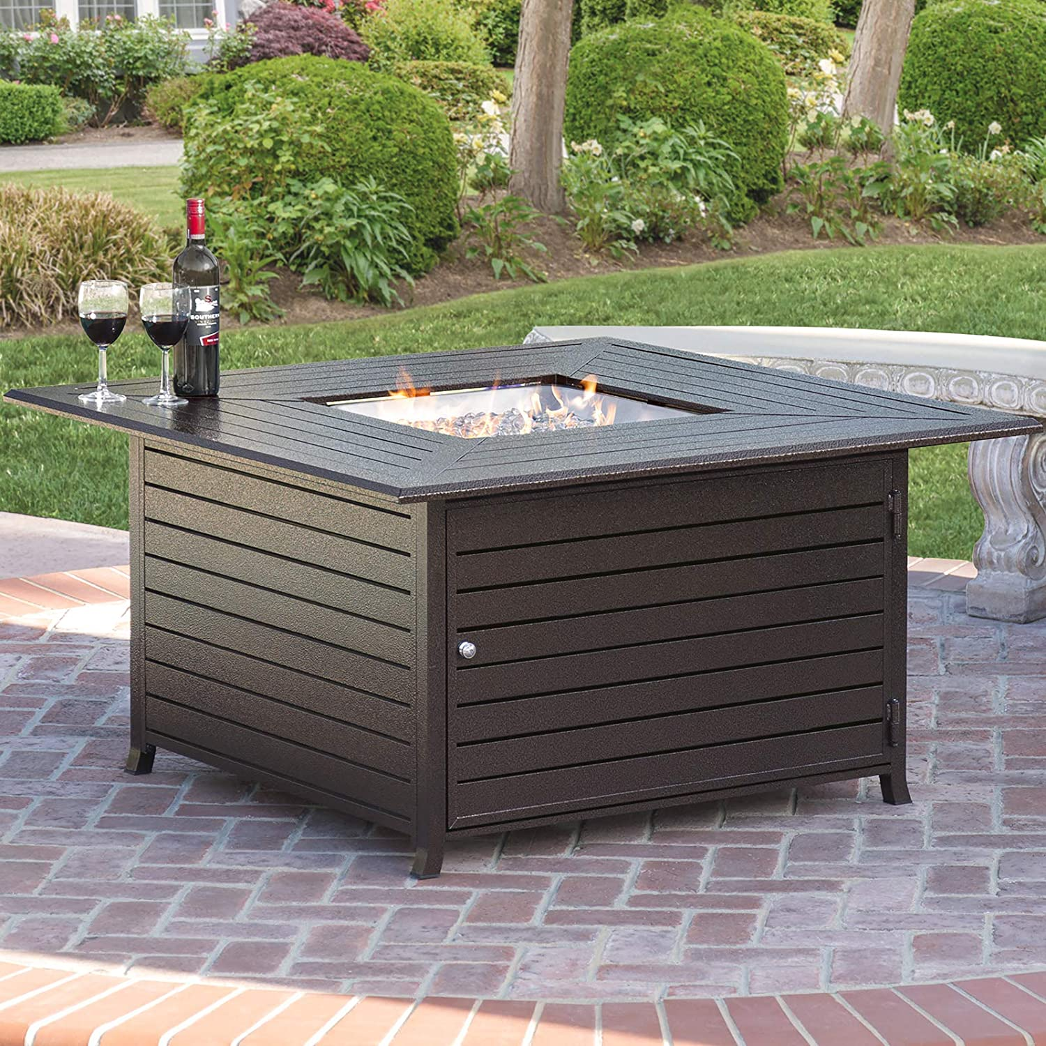 4. Best Choice Products BCP Extruded Aluminum Gas Outdoor Fire Pit Table with Cover