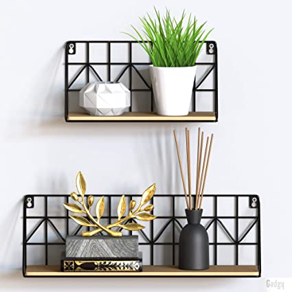 Gadgy estanteria de Pared metalica flotante| Juego de 2 estanterias metalicas y Madera | 45 x 12 x 15 & 30 x 12 x 15 cm. | Baldas Pared decorativas | ...