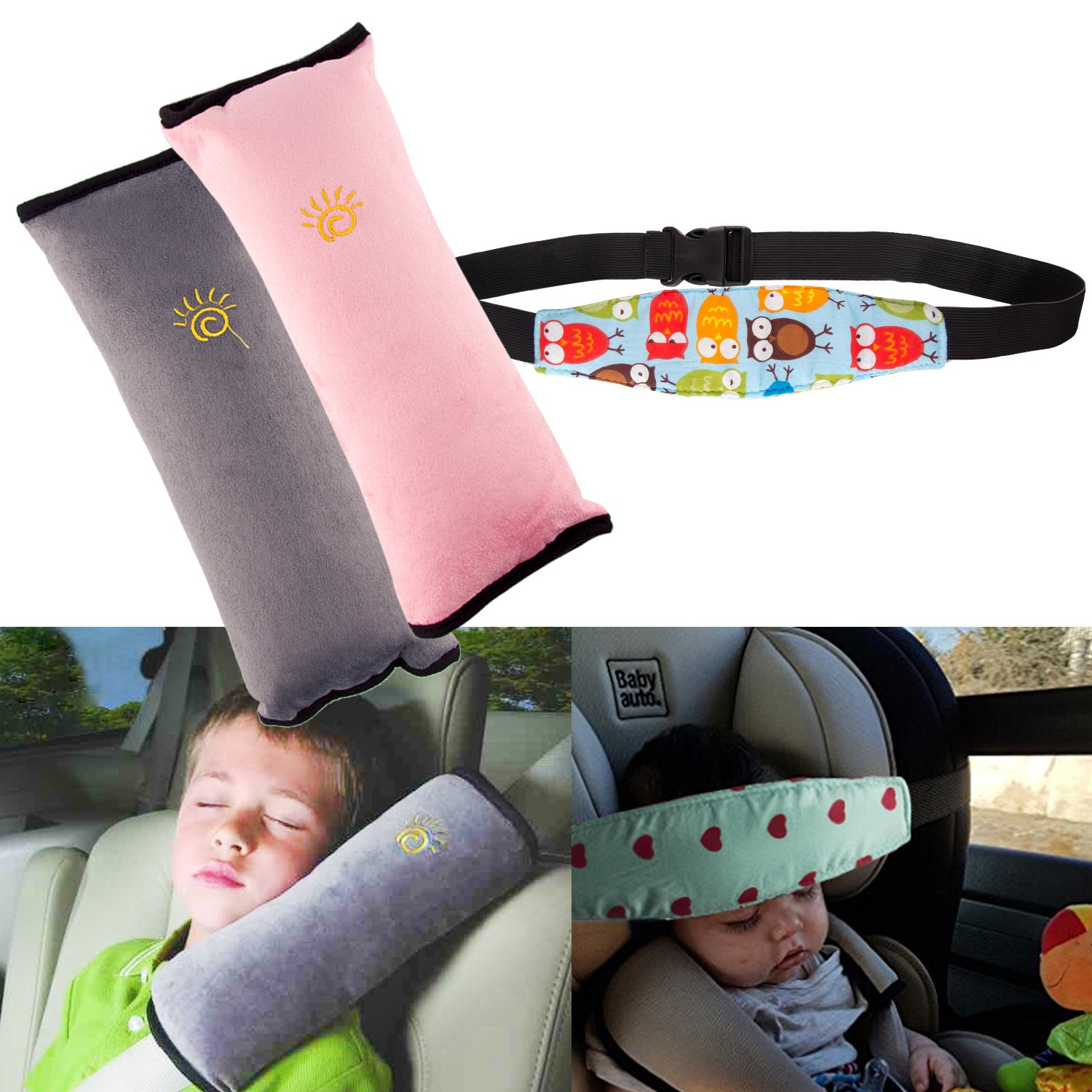 3Pack Seatbelt Pillow Car Seat Belt Covers for Kids, Adjust Vehicle Shoulder Pads Safety Belt Protector Cushion Plush Soft Auto Seat Belt Strap Cover Headrest Neck Support for Children Baby