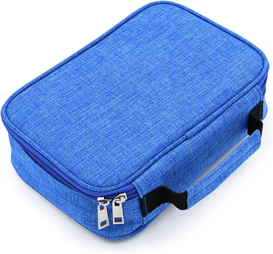 BTSKY High Capacity Zipper Pens Pencil Case- Multi-Functional Stationery Pencil Pouch 72 Slots Colored Pencil Case Portable Pencil Bags with 2 Removable Sleeves(Blue)
