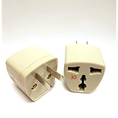 2 Pack Universal Power Travel Plug Adapter Converting from EU/UK/CN/AU to USA FR DE BE CZ SE NZ DK NL to US CA CN Wall Outlet Power Charger Converter 2 PIN 10A European to American Europe Asia: Electronics