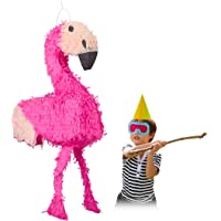 Relaxdays Piñata Infantil Flamenco XXL, Color Rosa, 80 x 40 x 14 cm (10022567)