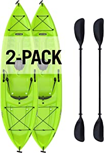 """Lifetime Tioga Sit-On-Top Kayak with Paddle (2 Pack), Lime, 120"""""""