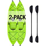 """Tioga Sit-On-Top Kayak with Paddle (2 Pack), Lime, 120"""""""