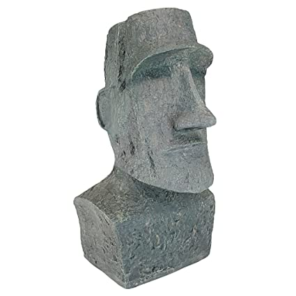 Design Toscano Easter Island Ahu Akivi Moai Monolith Garden Statue, Large  24 Inch, Polyresin