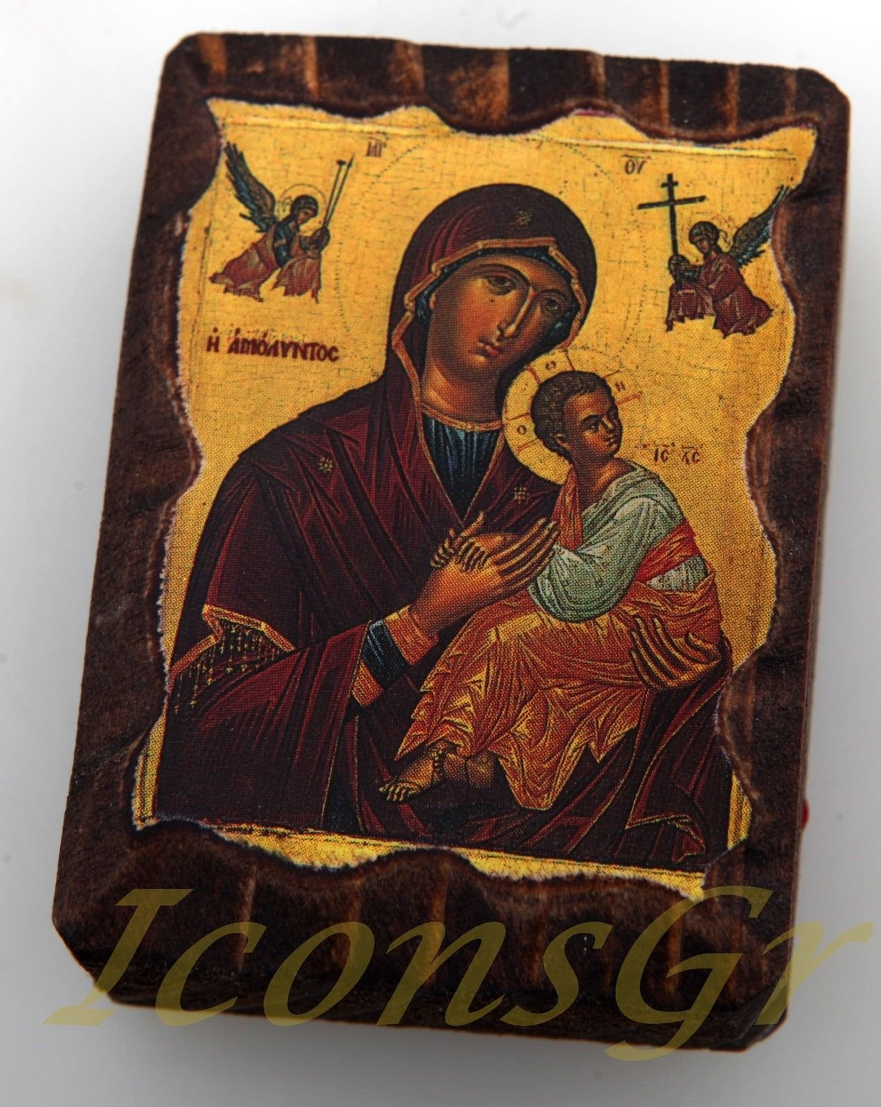 Wooden Greek Christian Orthodox Small Lithography Wood Icon A6_5 by Iconsgr