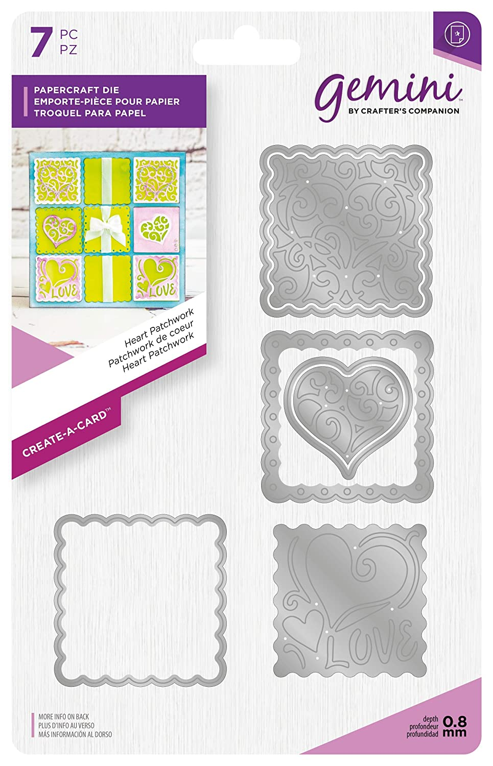 Gemini Die - Create-a-Card - Heart Patchwork, Silver, Various Crafter's Companion GEM-MD-CAD-HEAP