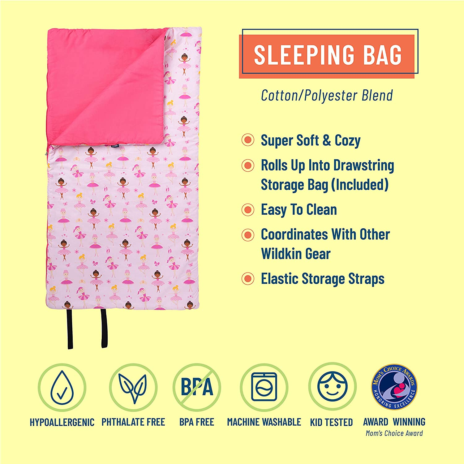 Ballerina Camping /& Overnight Travel Measures 57 x 30 x 1.5 Inches Perfect Size for Parties Cotton Blend Materials Sleeping Bag BPA-Free Wildkin Kids Sleeping Bags for Boys and Girls