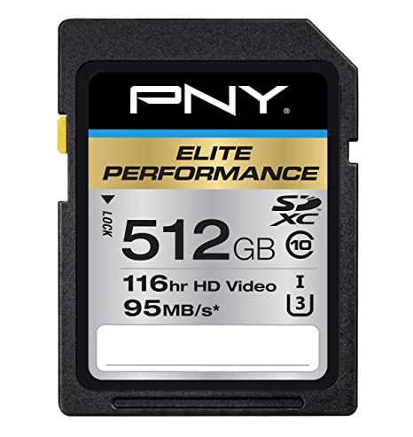 PNY Elite Performance 512GB SDXC Class 10 UHS-I, U3 up to 95MB/Sec (P-SDX512U3H-GE)