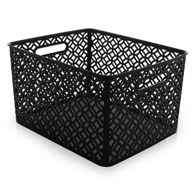 BINO Woven Plastic Storage Basket, Medium (Black) 11029-BLK-M