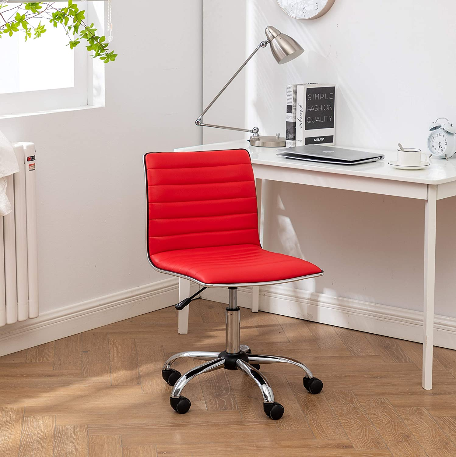 Roundhill Furniture Fremo Adjustable Air Lift Office Chair, Red