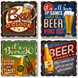 Highland Graphics Set of 4 Assorted Stone Coasters (It's Beer O'clock)