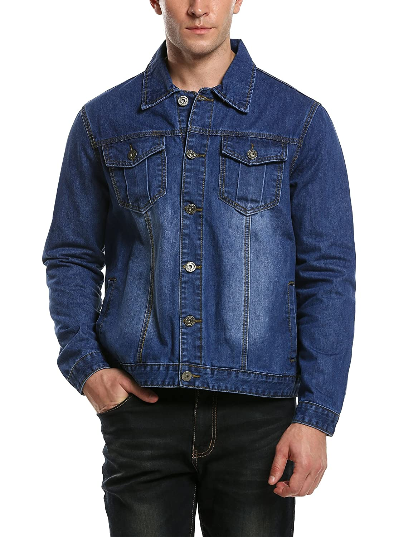 Hotouch Men's Casual Denim Jackets Long Sleeve Denim Shirts AMJ005266
