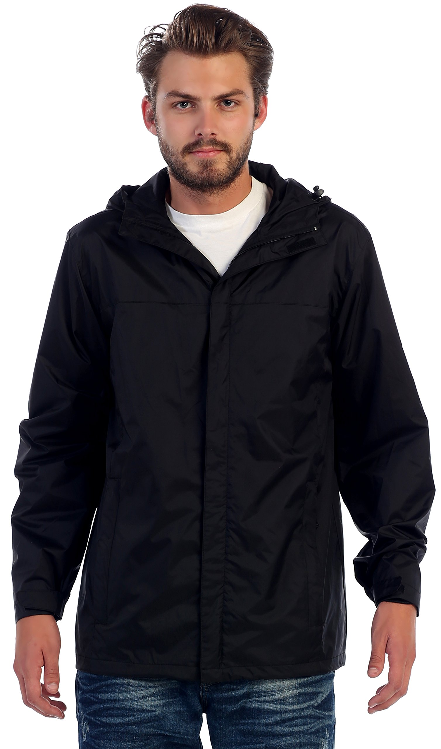 Gioberti Men's Waterproof Rain Jacket, Black, XXL by Gioberti