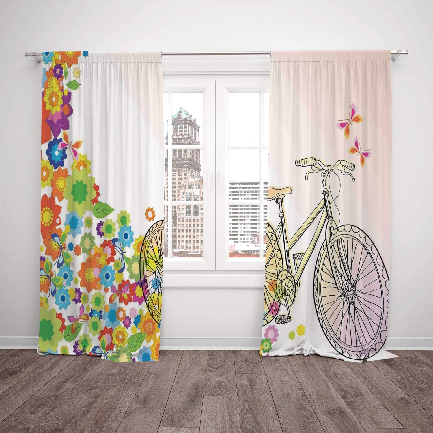 Polyester Window Drapes Kitchen Curtains Bicycle Hand Drawn Bicycle With Extending Flower Path Sixties Hippie Fashion Times Funky Pattern Multi Living Room Bedroom Kitchen Cafe Window Drapes 2 Panel S Amazon Co Uk Kitchen Home