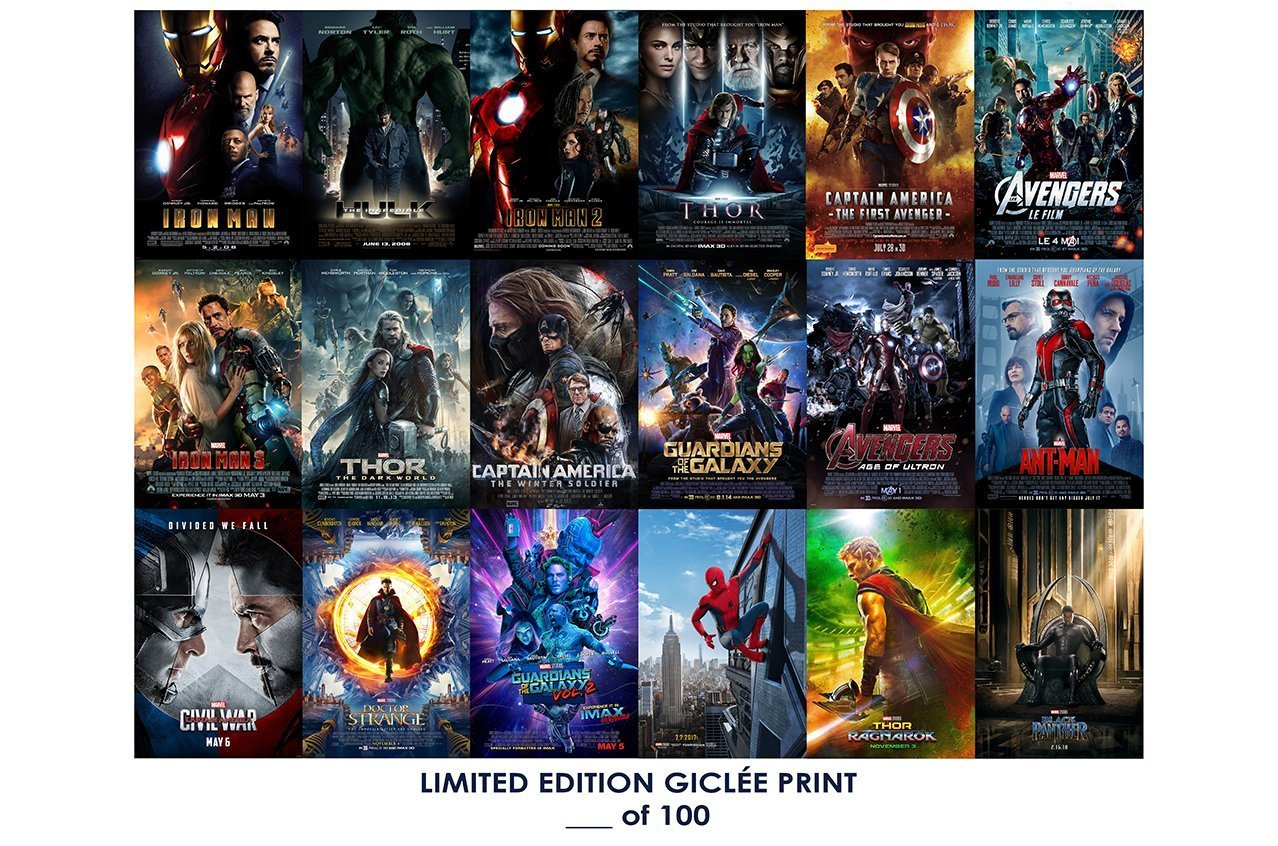 Lost Posters Rare Poster Thick Marvel Cinematic Universe Movie 2018 All 20 Films Reprint #d//100! 12x18