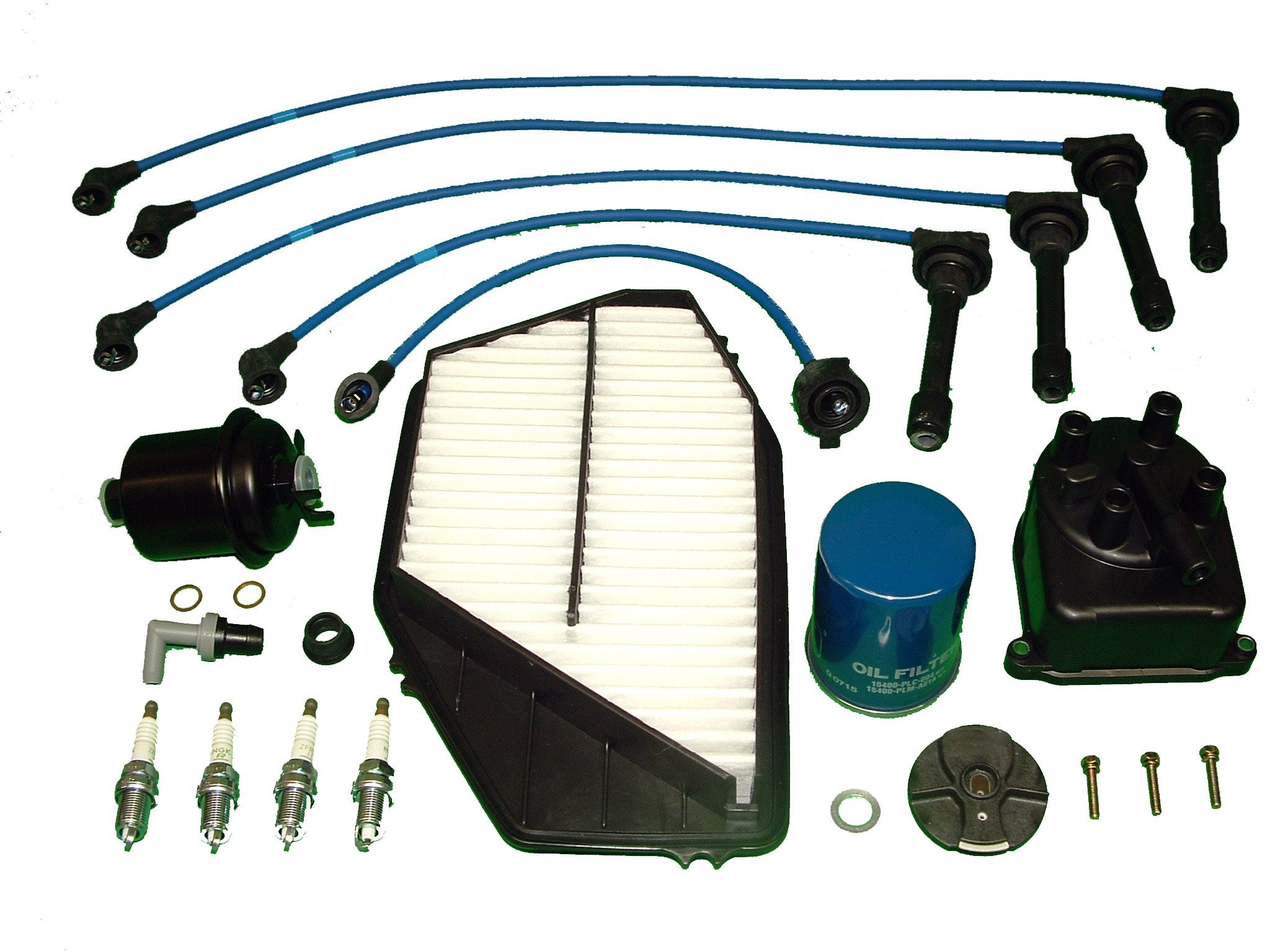 Tune Up Kit Includes Distributor Cap and Rotor all filters NGK plugs and Ignition Wires Compatible With Honda Accord LX DX 1994 to 1997 by TBK Timing Belt Kit