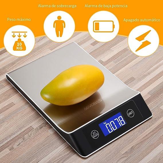 AEVOBAS Báscula Digital para Cocina de Acero Inoxidable, 10kg/1g, 7 Modos, Balanza de Alimentos Multifuncional, Peso de Cocina, con Pantalla LCD ...